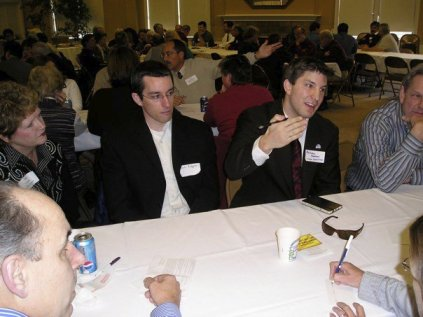 """At a Corvallis City Club event, discussing the type, read and follow directions """"strategy""""."""
